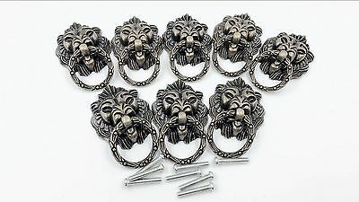 Dresser Drawer Cabinet Door Pull Ring Lion Head Handle Knob 8pcs C TAX FREE