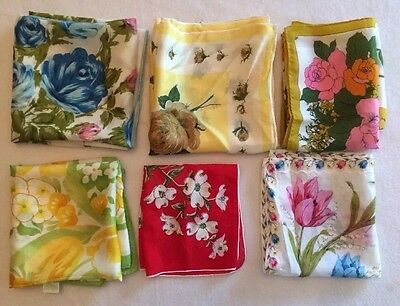 Vintage Lot Of 6 1950s 1960s Floral Scarves Red Blue White Green Yellow Blue