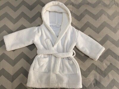 The Little White Company Baby Towelling Dressing Gown Bath Robe 12-18 Months