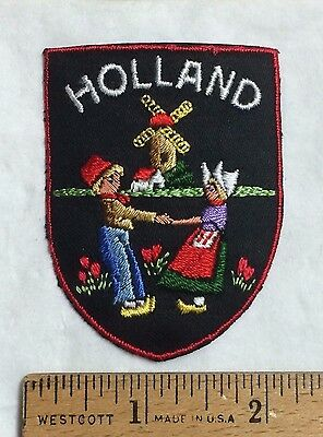 HOLLAND Netherlands Windmill Dancing Man Woman Souvenir Embroidered Patch Badge