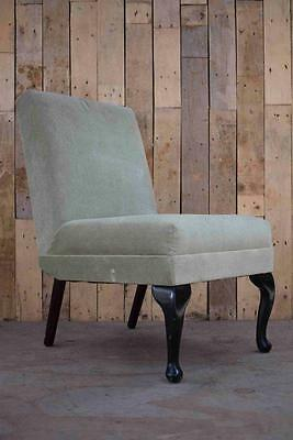 Retro Vintage Art Deco Cocktail Upholstered Chair With Queen Anne Legs   -
