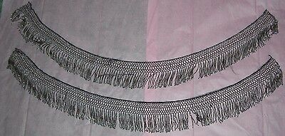 """Antique Victorian Cut Steel Beads Fringe Trim Two Pieces 34"""" And 35"""""""