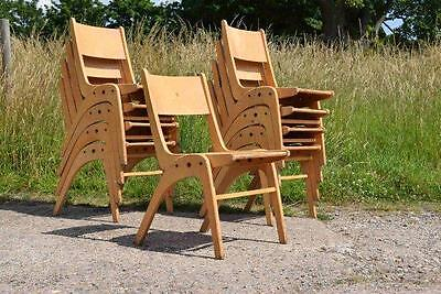 Job Lot Of 9 Retro Vintage Casala Muster Stacking Industrial Wooden Chairs   -