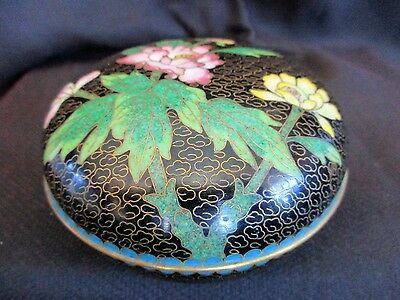 Vintage Black Closonnie Lidded Bowl , Oriental Floral Closonnie Enamel
