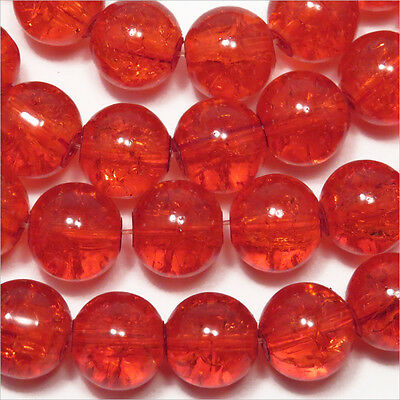 Lot de 20 Perles Rondes en Verre Craquelé Orange 10mm