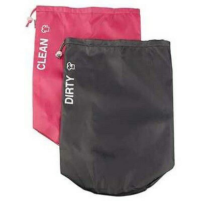 Globite Clean & Dirty Bag Set Luggage Organised Two Lightweight Bags Grey & Pink