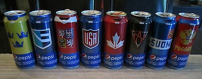 PEPSI World Cup of Hockey - Set of 8 Team Empty Cans