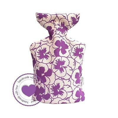 Hand-Made Unscented 100% Cotton PURPLE PANSIES Microwave Wheat Bottle Warmer