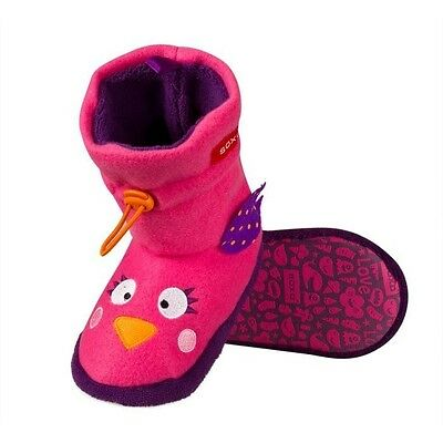 Junior Girls Adorable Pink & Purple Owl Soft Fleece Slipper Boots - 2 UK Sizes