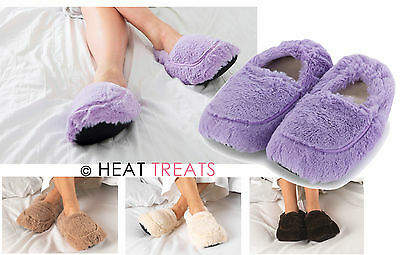Intelex Warmies Cozy Plush Body Fully Microwavable Lavender Faux Fur SLIPPERS