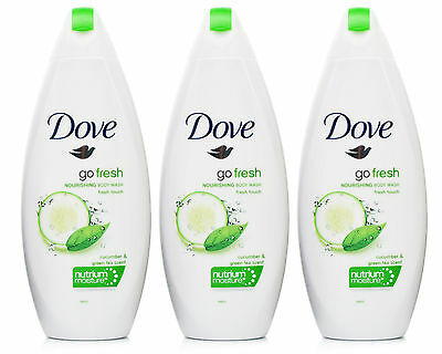 3x Dove Go Fresh Cucumber Nourishing Body Wash Shower Gel 250ml