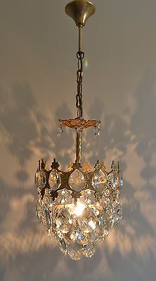 Mini French Basket Style Vintage Brass & Crystals Chandelier Antique Lamp