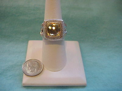 Estate Judith Ripka Sterling Silver 925 Faceted Cut Yellow Citrine Ring Size 8
