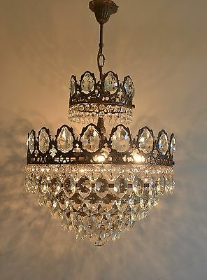 French Style Vintage Brass & Crystals Chandelier Antique Lamp Low Ceilings good