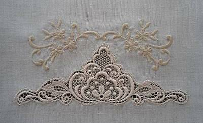 Vintage Large Linen Splasher Bath Hand Towel Schiffli Lace Taupe Embroidery