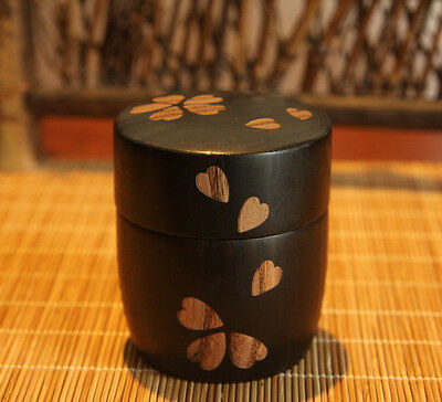 Japanese Wooden Lacquer Ware Tea Caddy Cherry Chaire Container Tea Ceremony