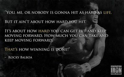 """ROCKY BALBOA MOTIVATIONAL QUOTE BOXING WALL PRINT POSTER  38""""x24"""" 008"""