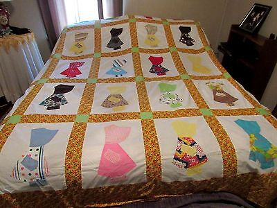 "VINTAGE QUILT TOP 98""x98"" SUNBONNET SUE- HAND APPLIQUED ALL SEAMS HAND STITCHED"