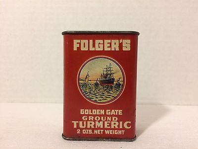 Vintage Folger's Golden Gate Ground Turmeric Spice Tin Can 2ozs Ship Graphic