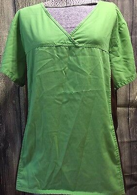 Cherokee Women's XL Short Sleeve Scrub Top Shirt Green Brown