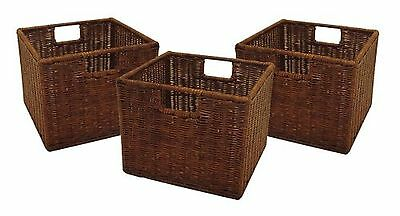 Winsome Wood Small Wired Rattan Baskets Set of 3 DESIGN 1