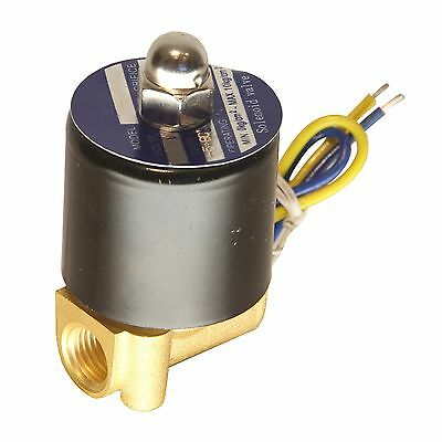 """HFS 110v Ac or 12v Dc Electric Solenoid Valve Water Air Gas Fuels N/c - 1/4"""" ..."""