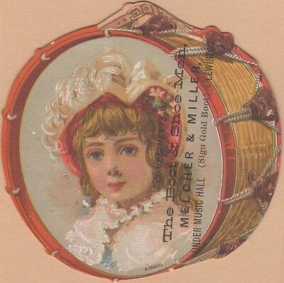 Die Cut Victorian Trade Card-Melcher & Miller Shoe-Lewiston, (ME)-Girl in Drum