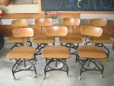 Lot of 7 Toledo Metal Furniture Company Drafting Chairs