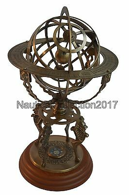 Maritime Solid Brass 18 Inches Lion Nautical Armillary Sphere Globe With Compass