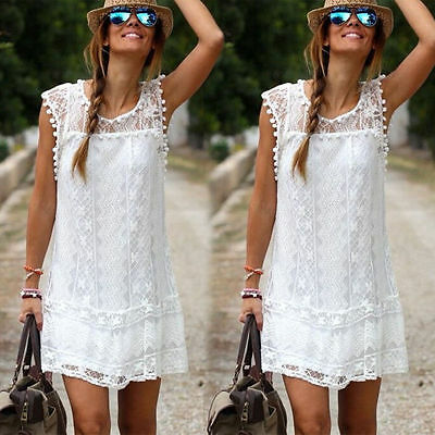 Boho Womens Lace Embroidery Summer Loose Casual Beach Mini Party Dress UK 6-20
