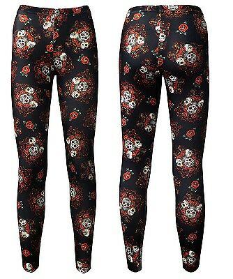 Gothic Sugar Skull Roses Tattoo Skulls Retro Printed Leggings Goth Punk Emo