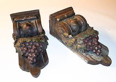 Matched Pair 19th Century Wood Corbels--Grapes and Grape Leaves