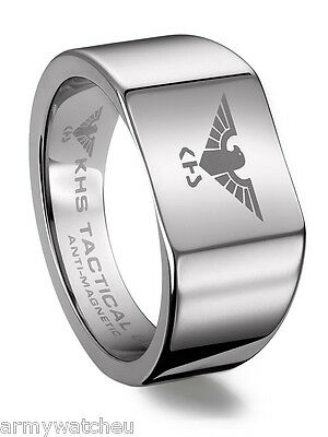 KHS Tungsten Carbide Rings Silver Eagle German Special Forces Coating Polished