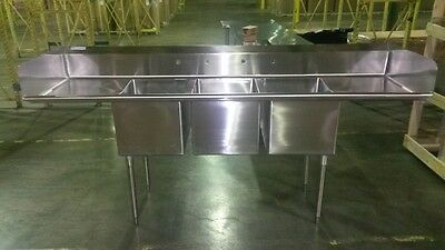 Stainless Steel 3 Bowl Sink Commercial Grade