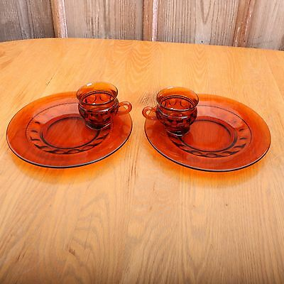 2 Vintage Indiana Glass Amber Kings Crown Thumbprint Snack Set Cups and Plates
