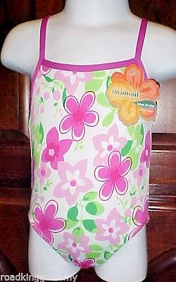 Girls One Piece Swimsuit - Infant 18-24 months - Pink and Green - Pretty - NWT