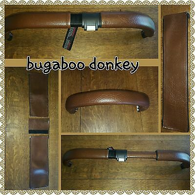 Bugaboo donkey twin BROWN faux leather zip on handle bar and 1 bumper bar covers