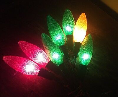 Vintage Lighted Ice Christmas Tree Lights One Strand 7 Bulbs