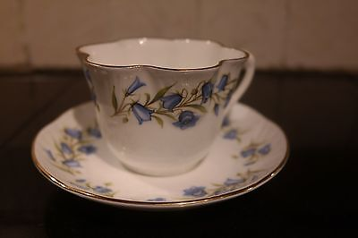 Crown Staffordshire England Bluebell Cup & Saucer, Gold Trim, Dainty A20