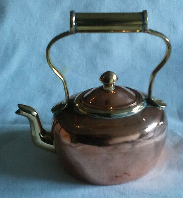 Antique Brass And Copper Small Kettle Goose Neck With Brass Handle