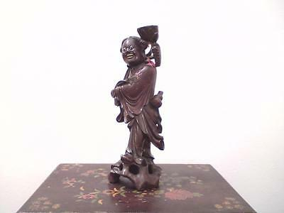 Large 19th century Chinese carved wood figure Lan Caihe Tsai-Ho Immortal statue