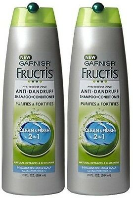 2 x Garnier Fructis Anti Dandruff Clean & Fresh Shampoo 13 Oz 384ml