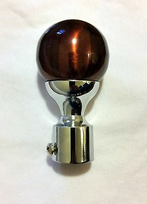 New Round Brown Set of Curtain Rods Finials