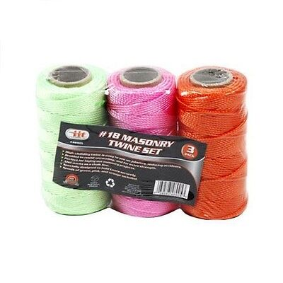 3 Pack #18 Braided Masonry Line String Twine Set, Mason Line