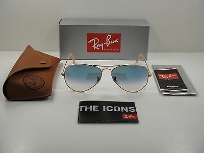 Ray-Ban Aviator Gradient Sunglasses Rb3025 001/3F Gold Frame/Blue Lens 58Mm