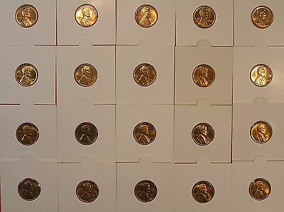 LINCOLN CENT LOT * C3 * 20 UNCIRCULATED  Coins * 1940's, 1950's & 1960's
