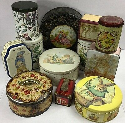 Vintage Assorted Tin Lot Of 12 Large, Medium, and Small Sizes