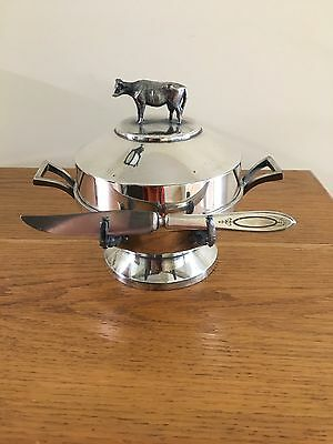 Vintage Silver Plated Butter Dish with Cow Figurine Lid & Matching Butter Knife