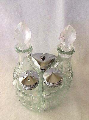 Vintage Glass Condiment Set with  Salt and Pepper Set - 5 Pieces fit together