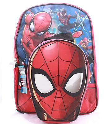 Spiderman Homecoming Boys School Backpack Lunch Box SET Book Bag Kids Children